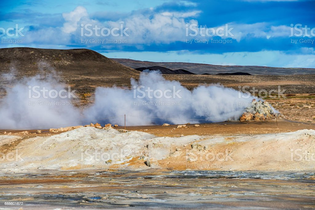Geothermal activities in Hverir, Iceland stock photo