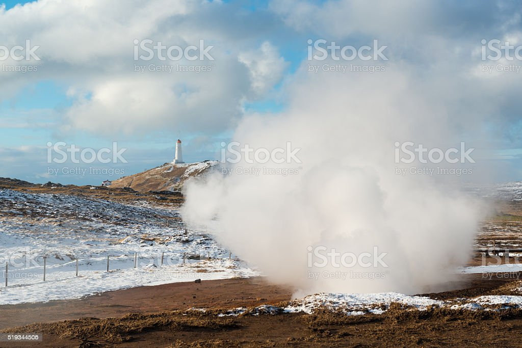 Geothermal area Gunnuhver and lighthouse at winter, Reykjanes Peninsula, Iceland stock photo