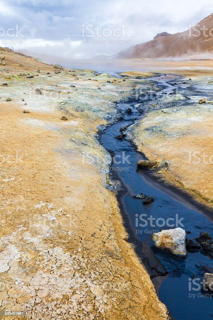 Geothermal area Hverir stock photo