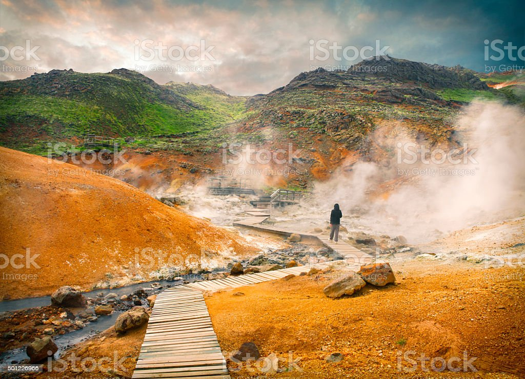 Geothermal area Krysuvik Seltun in Iceland stock photo