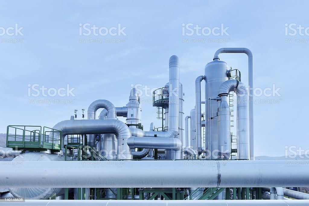 Geothermal energy. Pipes details of a power station. stock photo