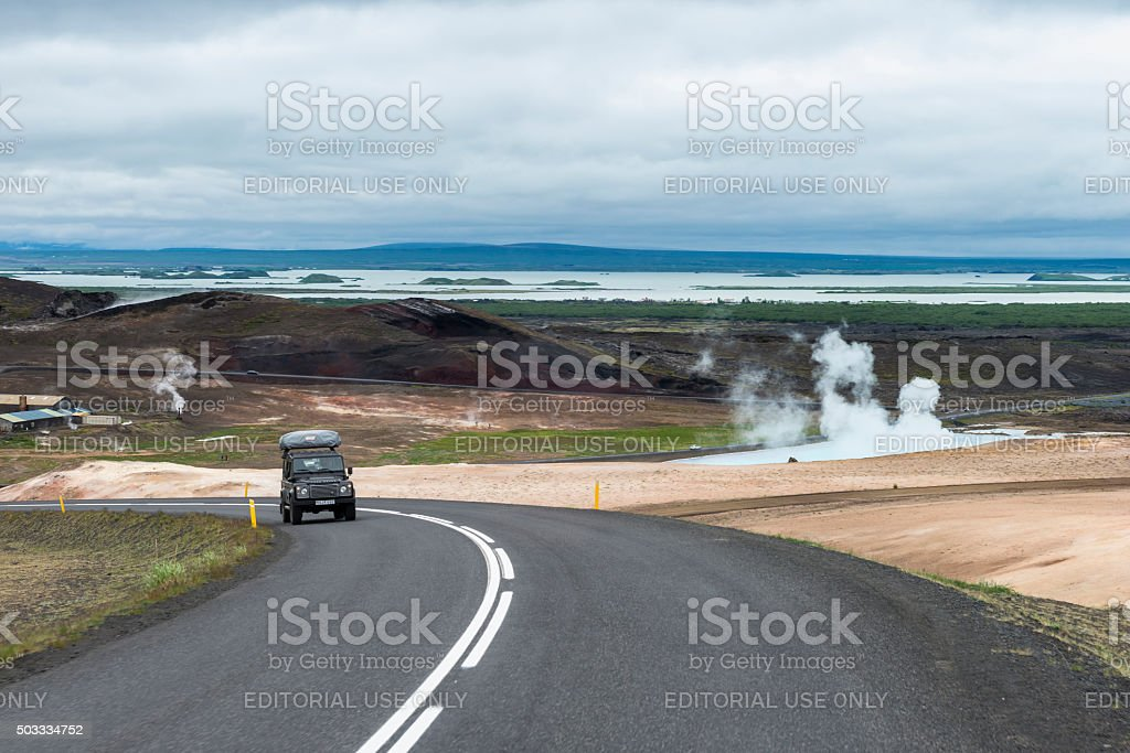Geothermal field Hveraröndor Hverir in Iceland stock photo