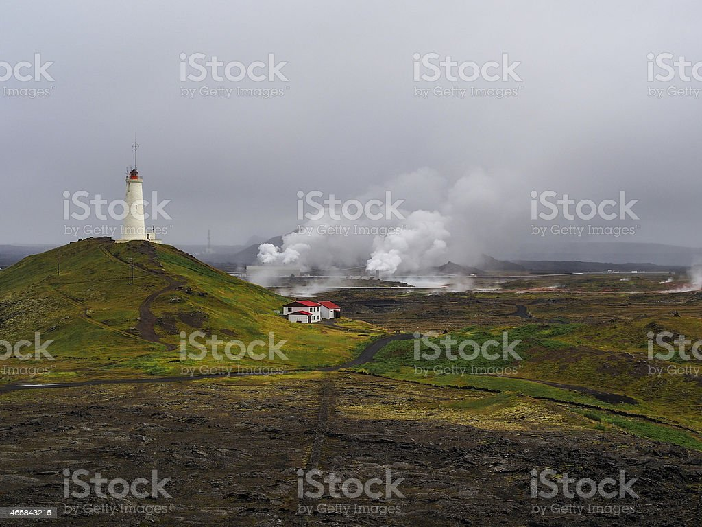 Geothermal field of Gunnuhver, Reykjanes Power Plant stock photo