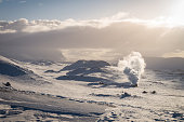 Geothermal landscape in Iceland during winter