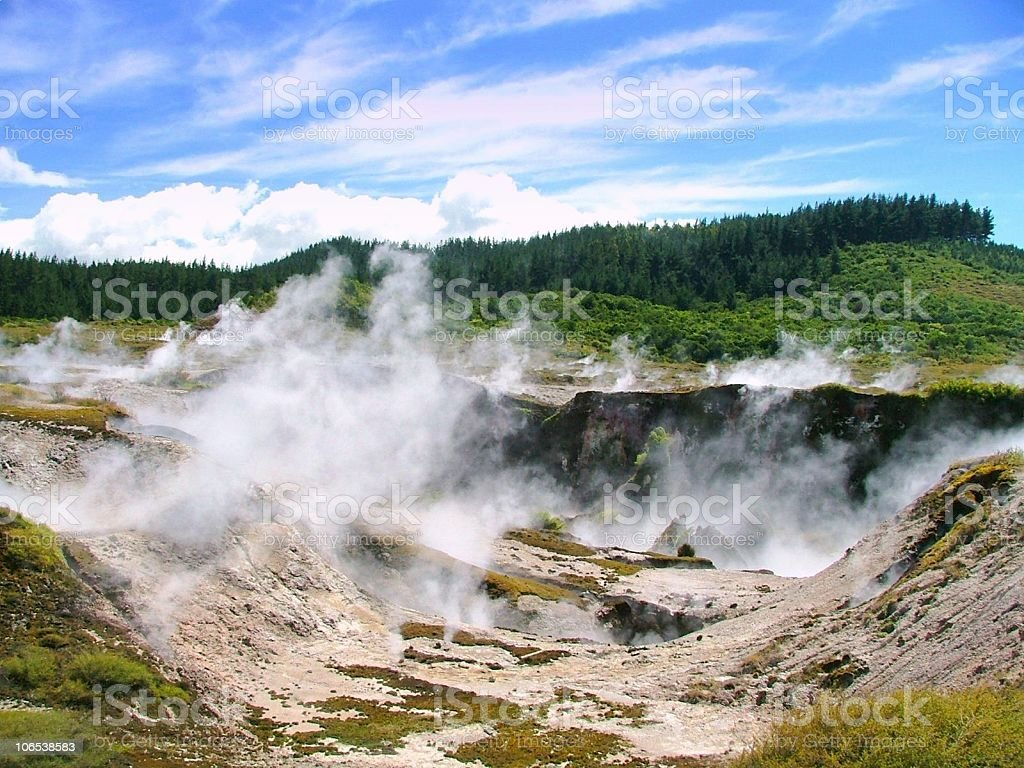 Geothermal Landscape in  New Zealand stock photo
