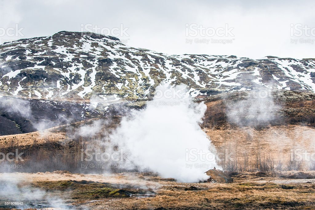 Geothermal nature with steamy fields stock photo