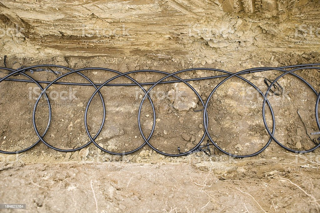 Geothermal Pipe Coils at the bottom of a Trench stock photo