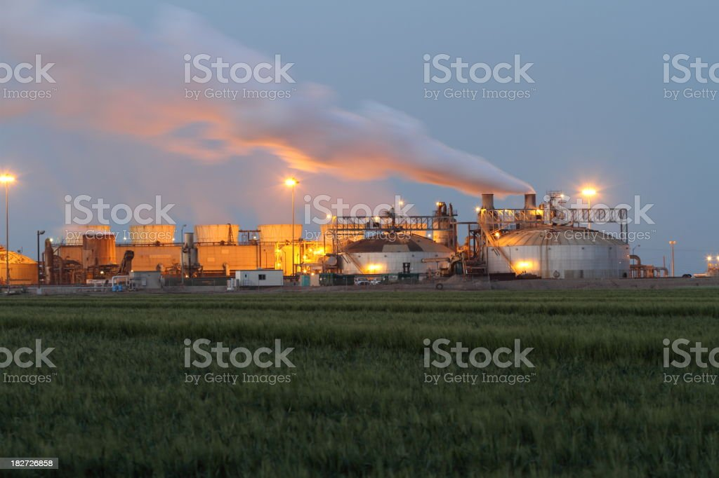 Geothermal Power Plant at Dawn stock photo