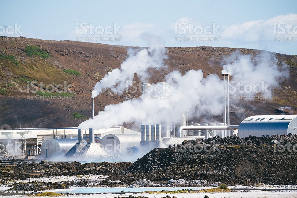 Geothermal power plant in Iceland stock photo