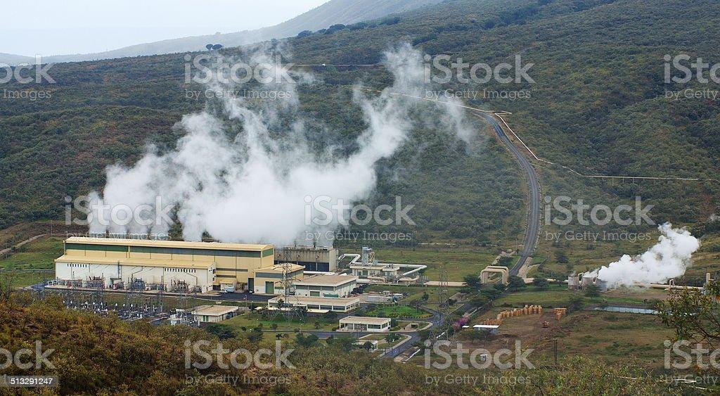 Geothermal power plant in Kenya stock photo