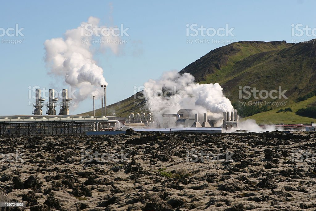 A geothermal power station at work stock photo