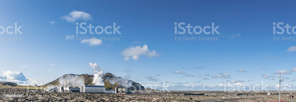 Geothermal power station beside Blue Lagoon Iceland royalty-free stock photo