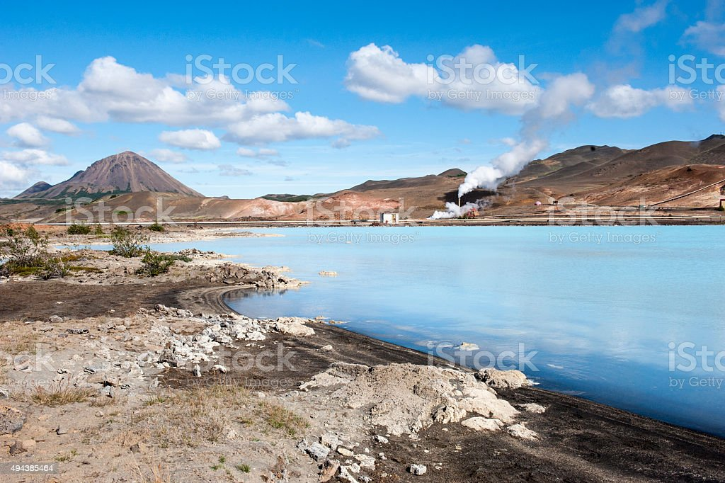 Geothermal power station, blue hot water lagoon, Northern Iceland stock photo