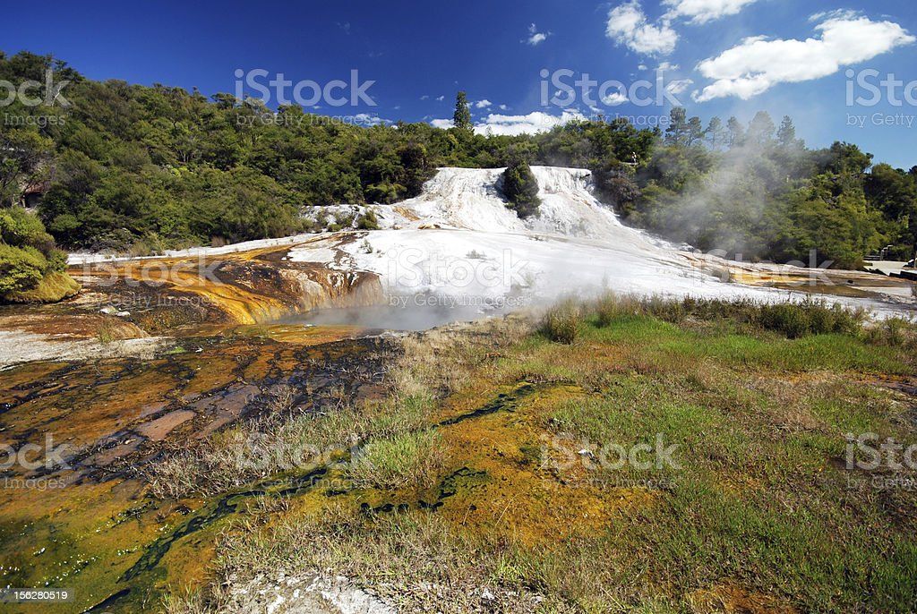 geothermal spring with colourful mineral deposits royalty-free stock photo