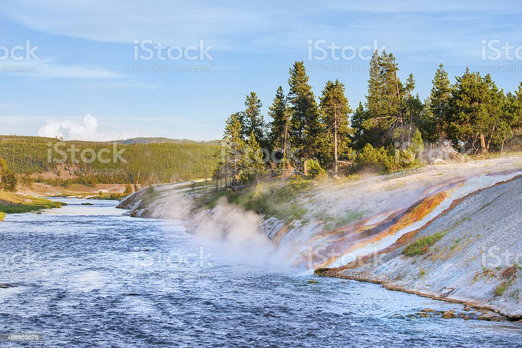 Geothermal Springs Flowing into Firehole River in Yellowstone National Park stock photo