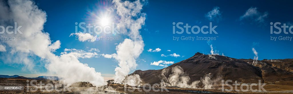 Geothermal steam rising from volcanic vents geysers mudpools Hverir Iceland stock photo
