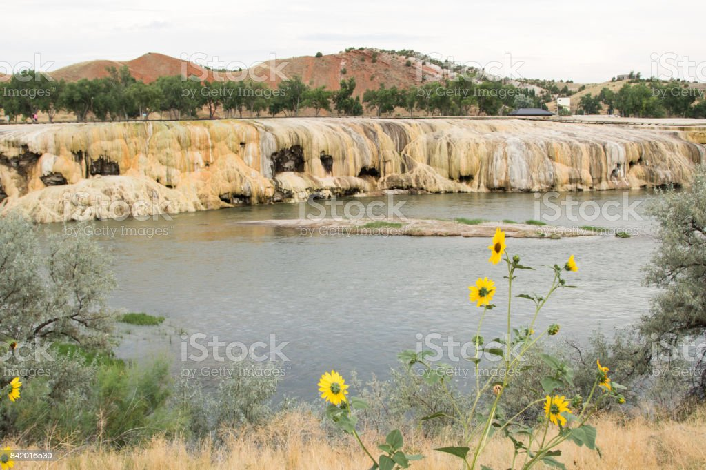 Geothermal terraces at Bighorn River, Thermopolis stock photo