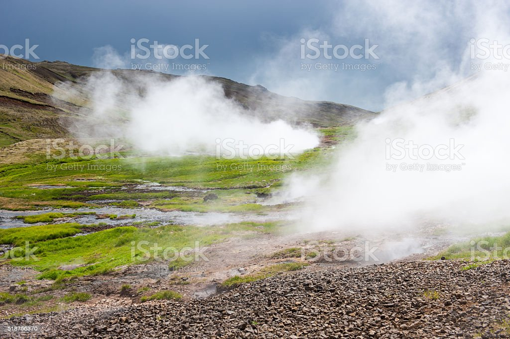 Geothermal valley near Hveragerdi, thermal springs, Iceland stock photo