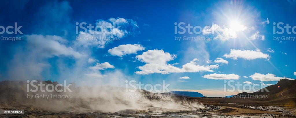 Geothermal vents steaming in volcanic highlands of Hverir Iceland stock photo