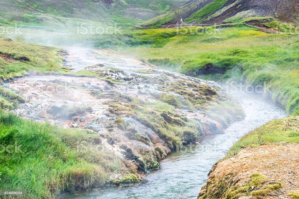 Geothermally active valley of Haukadalur. Thermal springs. Iceland. stock photo
