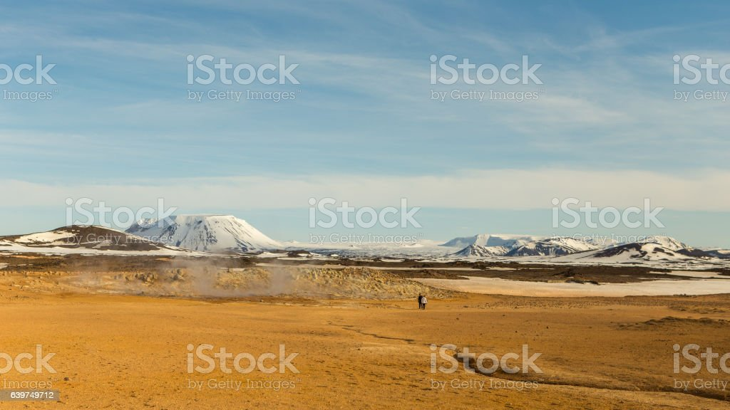 Geothermic hot springs in the snowy mountains of Iceland stock photo