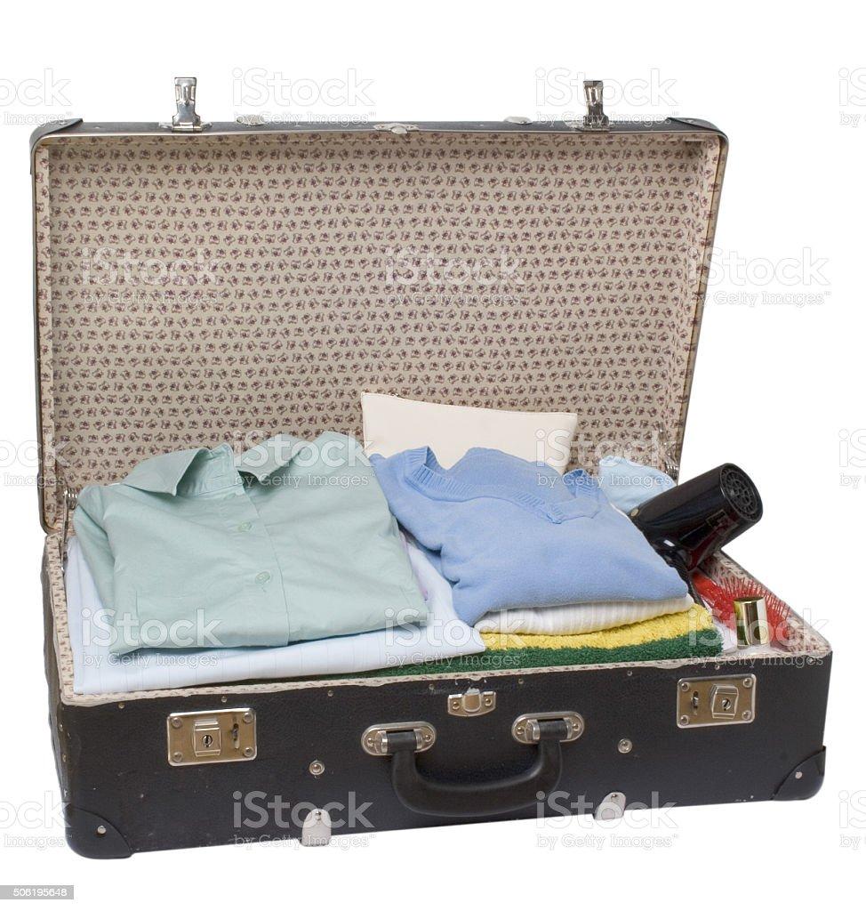 gepackter alter Koffer stock photo