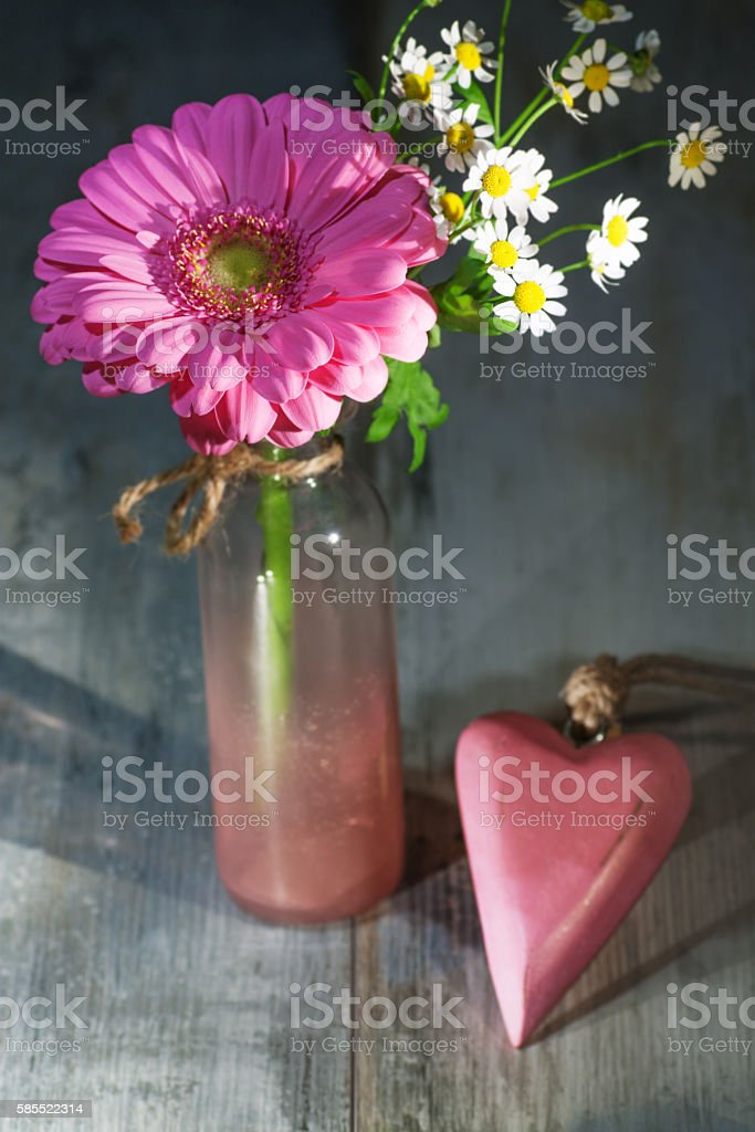 Gerbera flower in a glass vase stock photo