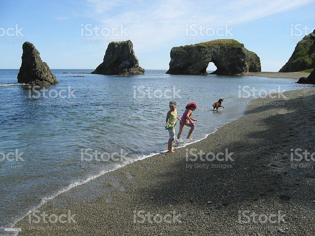 Gerls and sea royalty-free stock photo