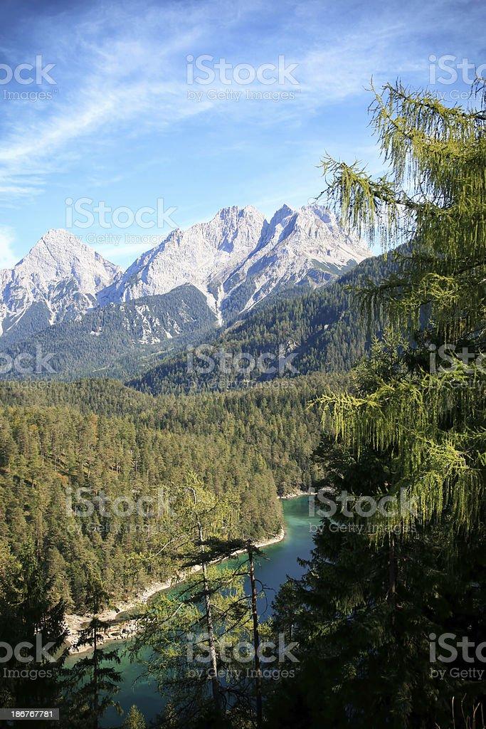 German Alps mountain range with lake royalty-free stock photo