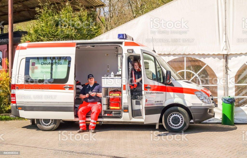 German ambulance waiting to help stock photo