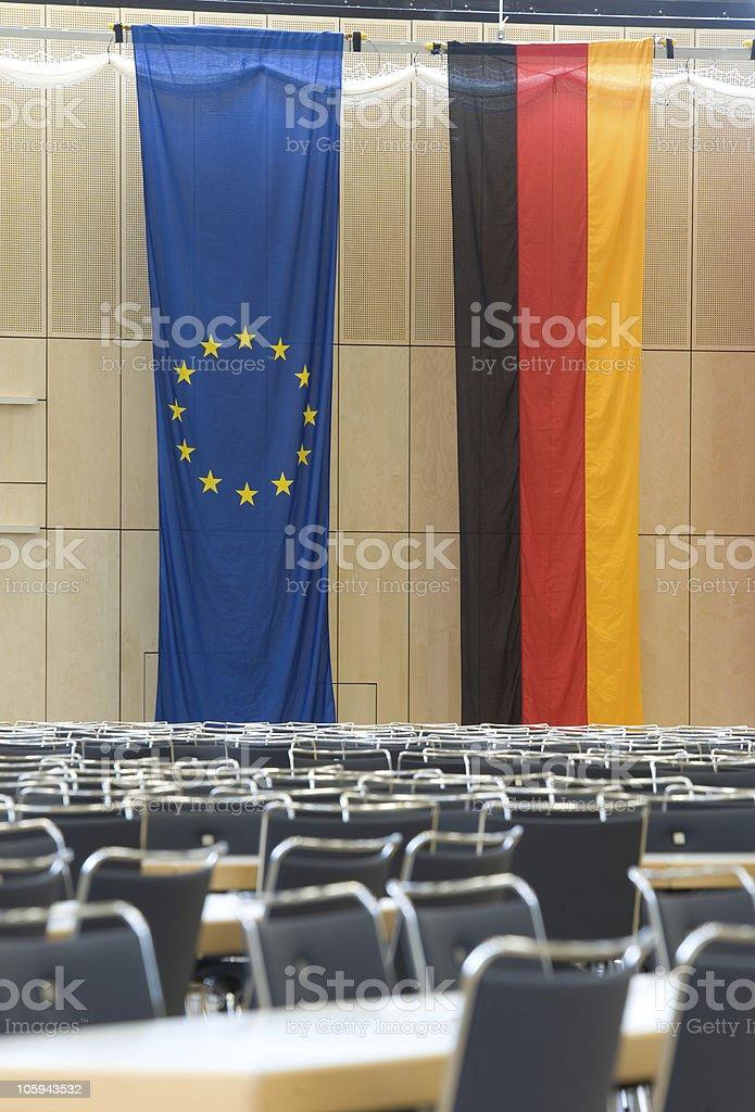 Tedesco e bandiera dell'Unione europea foto stock royalty-free