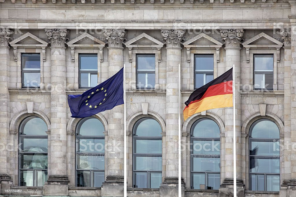 German and EU flags in Berlin, Germany. royalty-free stock photo