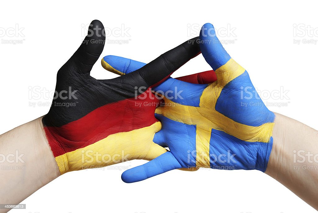 german and swedish hand royalty-free stock photo
