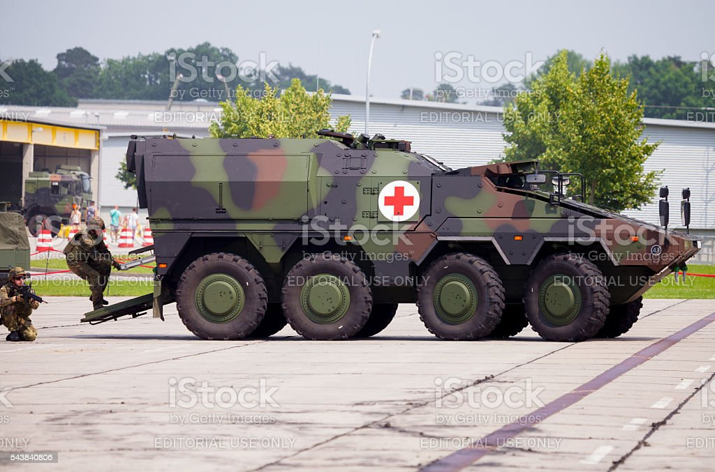 german armoured ambulance vehicle, Boxer stock photo