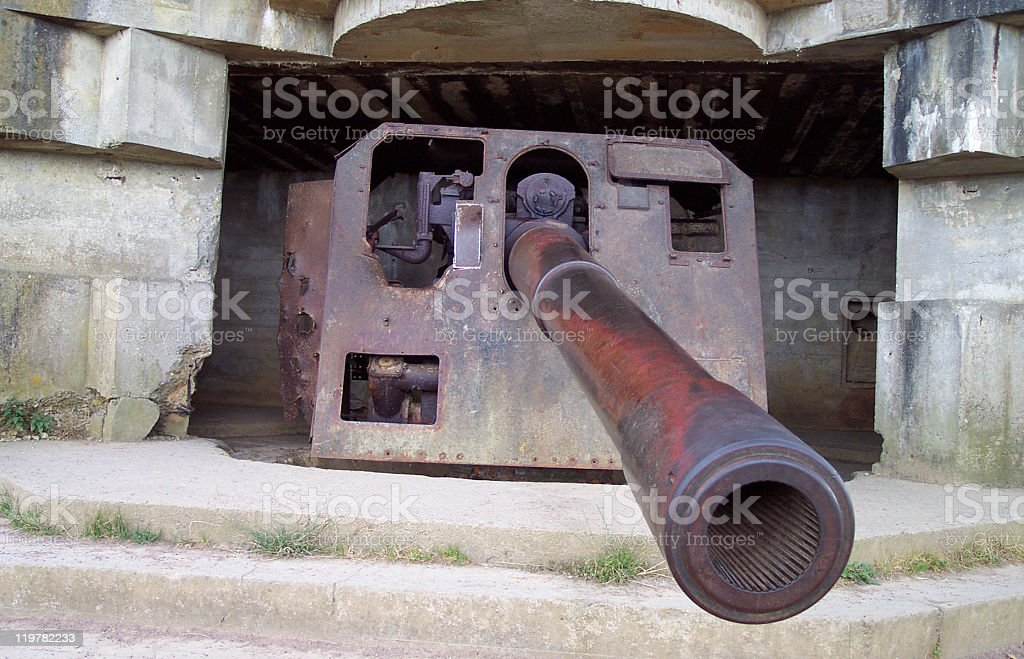 German army WW2 canon at D-Day site royalty-free stock photo