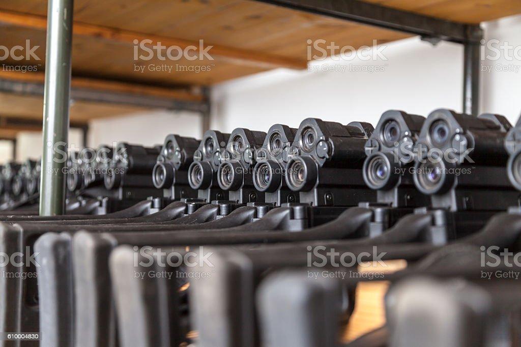 german assault weapons lies in a gun room stock photo