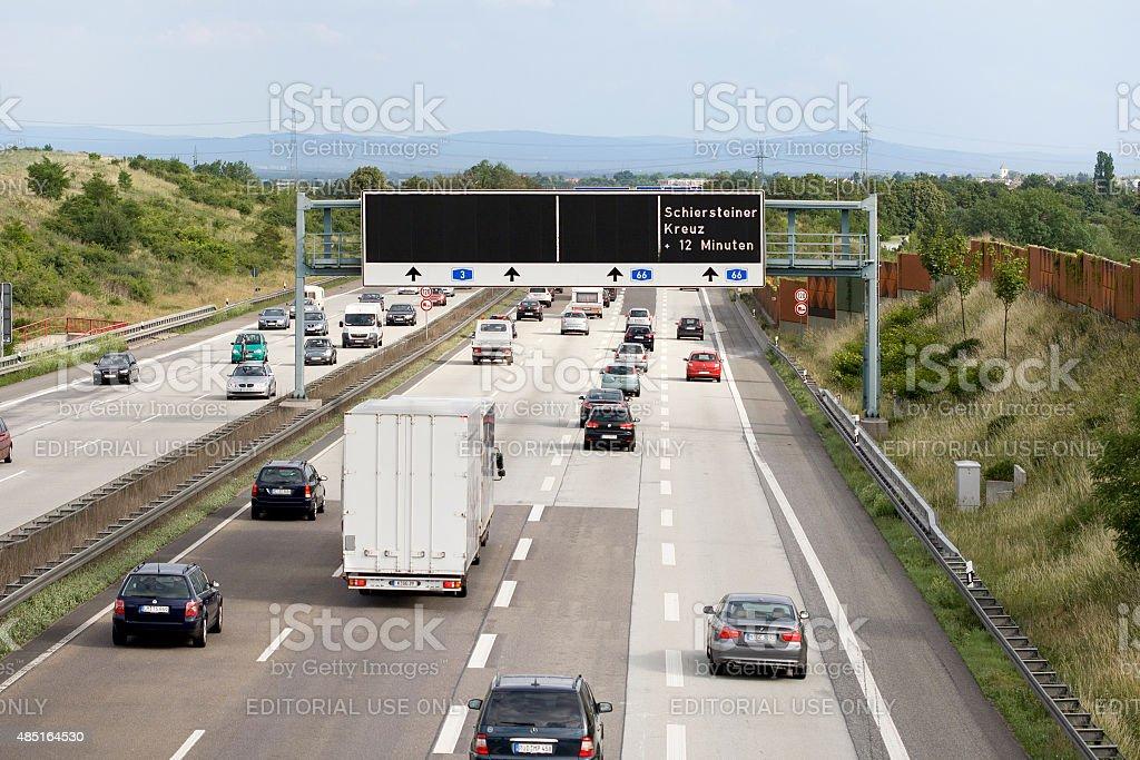 German Autobahn A 3, traffic information system stock photo
