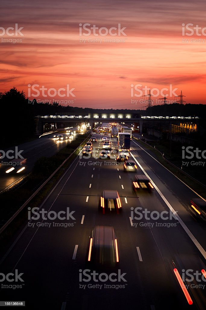 German autobahn at dusk, long exposure royalty-free stock photo