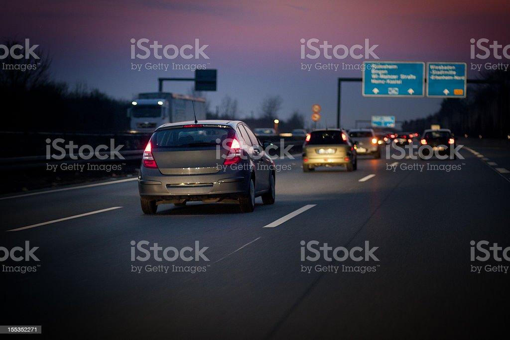 German autobahn at dusk stock photo