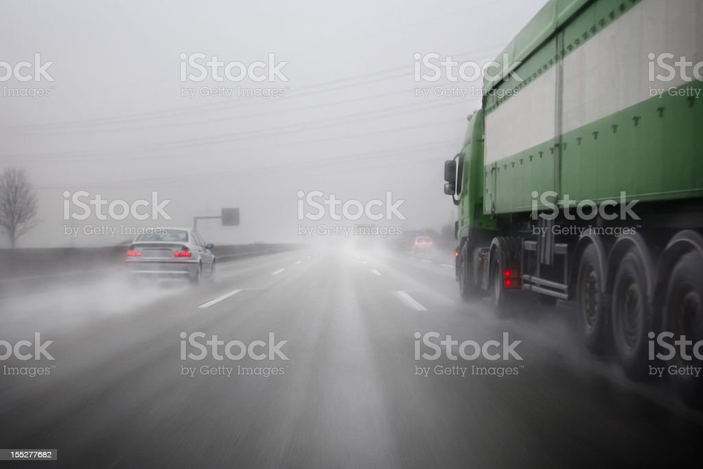 German Autobahn, bad weather conditions royalty-free stock photo