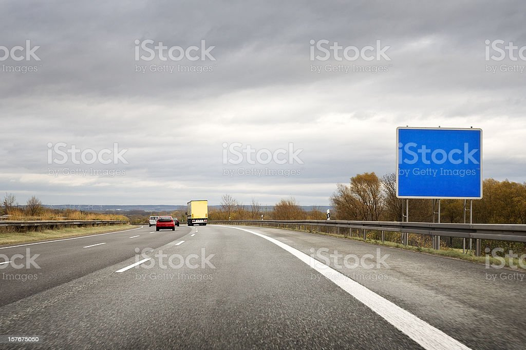 German Autobahn, empty road sign - copy space royalty-free stock photo