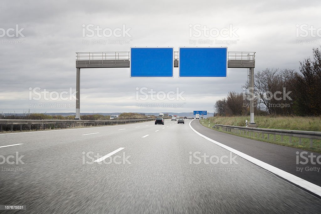 German Autobahn, empty road sign - copy space stock photo