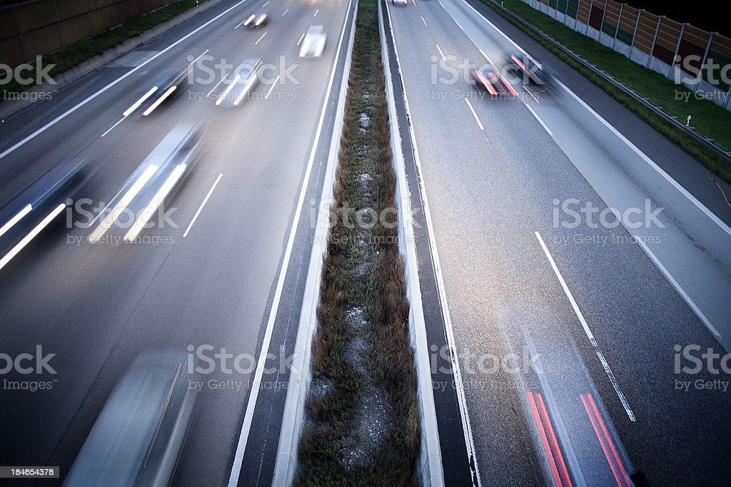 German autobahn - view from a bridge stock photo