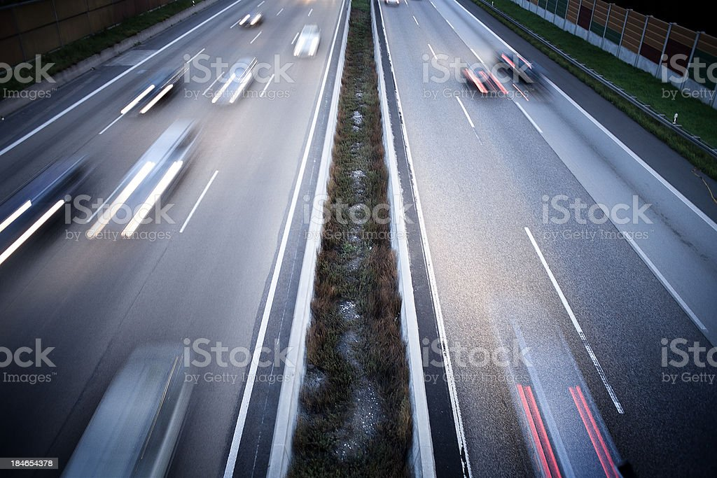 German autobahn - view from a bridge stock photo