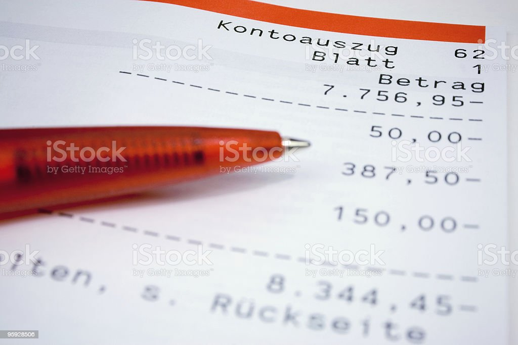 German bank statement with red ball pen stock photo