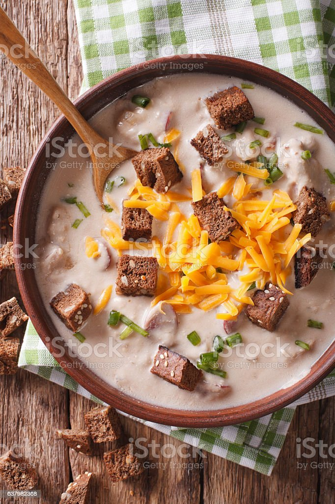 German beer soup with cheese and bacon closeup stock photo