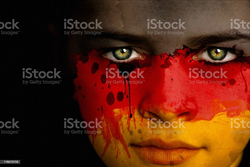 German boy with the flag of Germany royalty-free stock photo