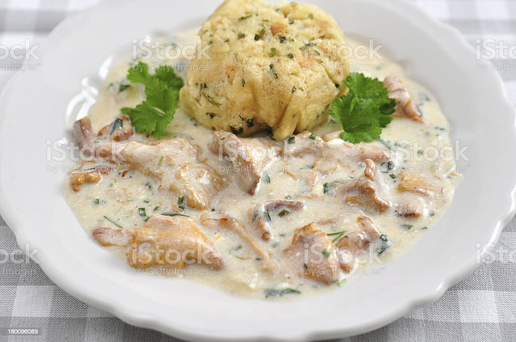 German Bread Dumplings with chanterelle mushroom sauce royalty-free stock photo