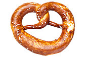 German bread pretzel on a white background