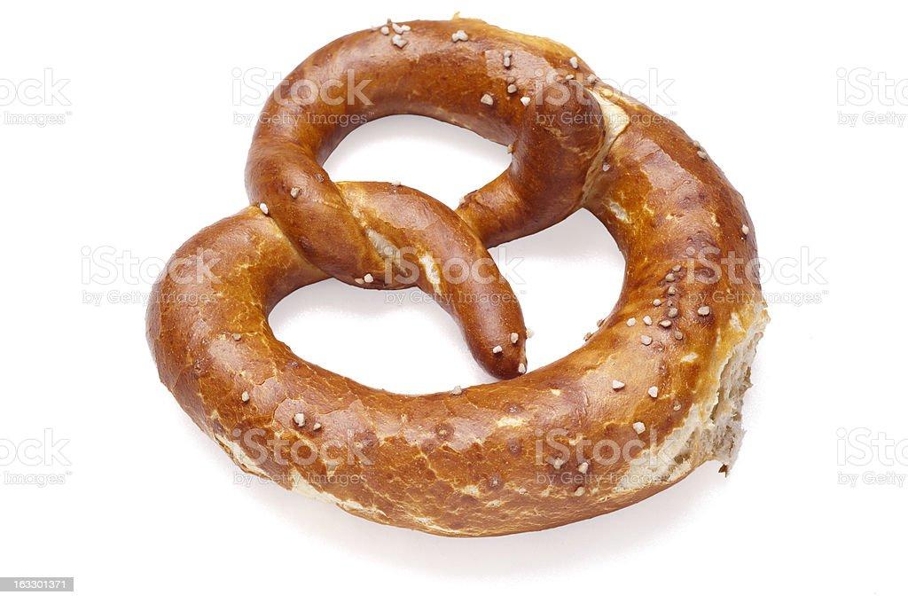 German bread pretzel on a white background royalty-free stock photo
